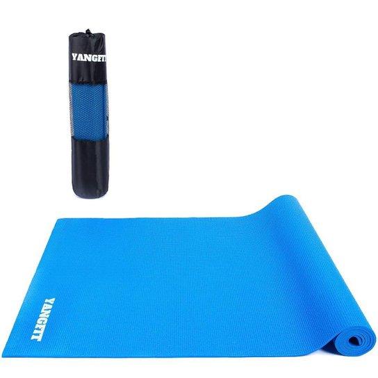 Tapete Yoga Mat Pilates Exercícios PVC 4mm Com Bolsa Yangfit - Azul