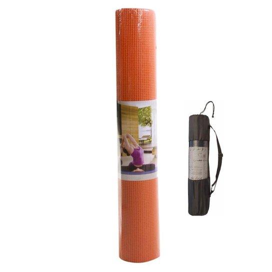 Tapete Yoga Mat Pilates Exercícios PVC 6mm Com Bolsa Yangfit - Laranja