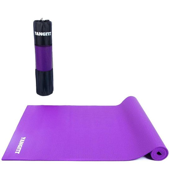 Tapete Yoga Mat Pilates Exercícios PVC 6mm Com Bolsa Yangfit - Roxo