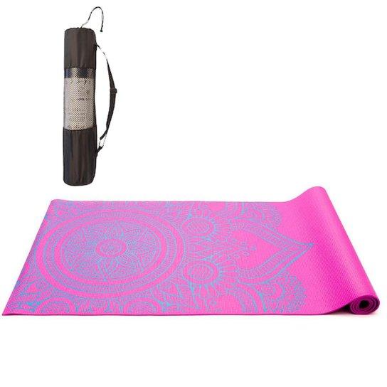 Tapete Yoga Mat Pilates PVC Com Estampa e Bolsa Yangfit - Rosa