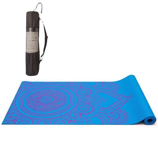 Tapete Yoga Mat Pilates PVC Com Estampa e Bolsa Yangfit - Azul Claro