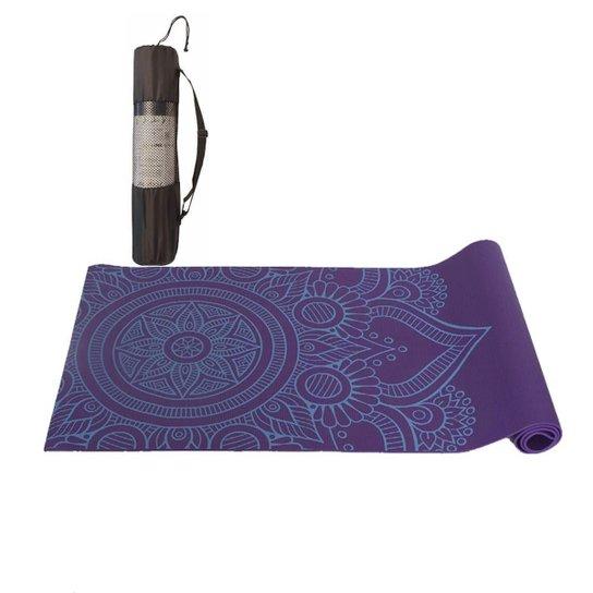 Tapete Yoga Mat Pilates PVC Com Estampa e Bolsa Yangfit - Roxo