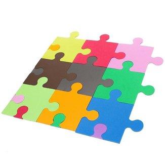 Tatame Puzzle Eva Infantil Fitness Ginastica Colorido Kit com 9 Peças 27x27x1 Cm