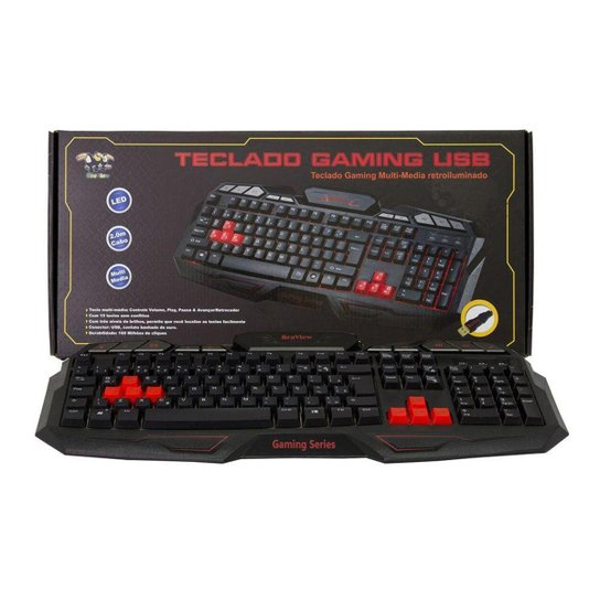 Teclado Gamer Braview TCO-801 Multimidia USB Verde - Preto+Vermelho