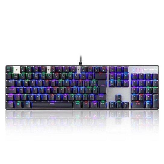 Teclado Gamer Motospeed CK104 Preto Switch Azul RGB Abnt2 - Preto
