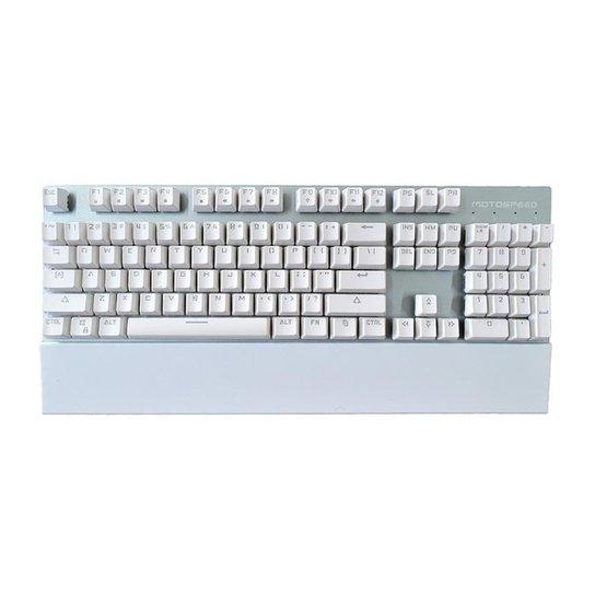 Teclado Gamer Motospeed GK89 Branco Switch Azul Led Azul - Branco