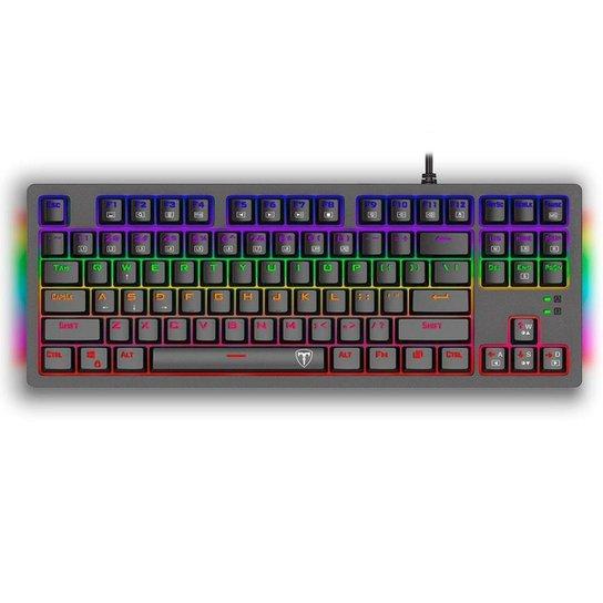 Teclado Mecânico Gamer T-Dagger Bali Rainbow Preto Switch Azul ABNT2 - Preto