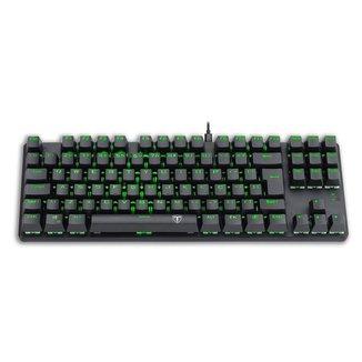 Teclado Mecânico Gamer T-Dagger Bora Preto Led Green Switch Azul ABNT2