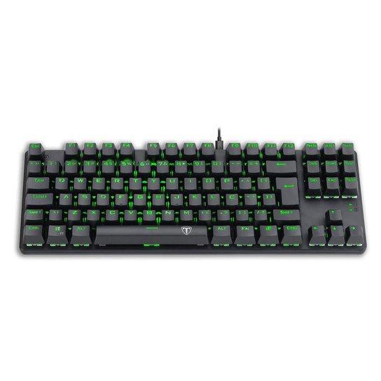 Teclado Mecânico Gamer T-Dagger Bora Preto Led Green Switch Azul ABNT2 - Preto