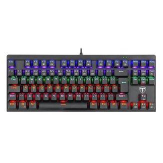 Teclado Mecânico Gamer T-Dagger Corvette Rainbow T-TGK302-BL Preto Switch Azul ABNT2