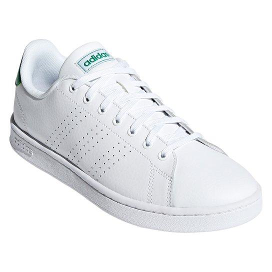 Tênis Adidas Advantage II Couro Masculino - Branco+Verde
