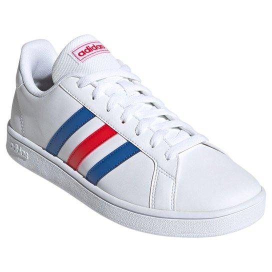 Tênis Adidas Grand Court Base Masculino - Branco+Azul