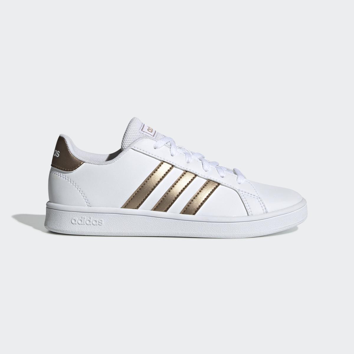 Tênis Adidas Grand Court K - Branco e dourado