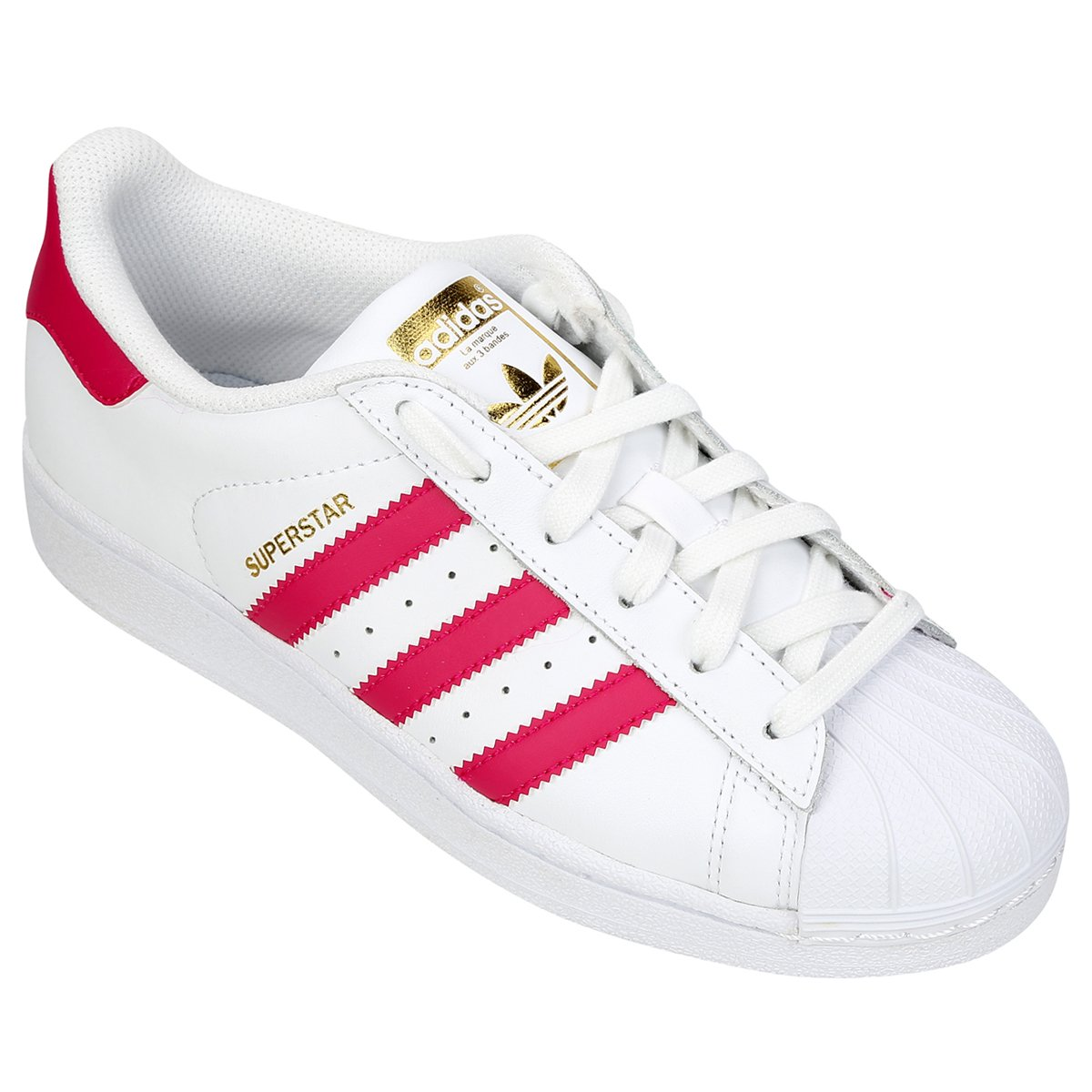 Tênis Adidas Superstar Foundation Infantil Branco e Rosa