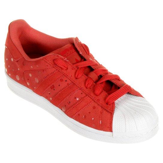 Tênis Adidas Superstar W - Vermelho+Branco