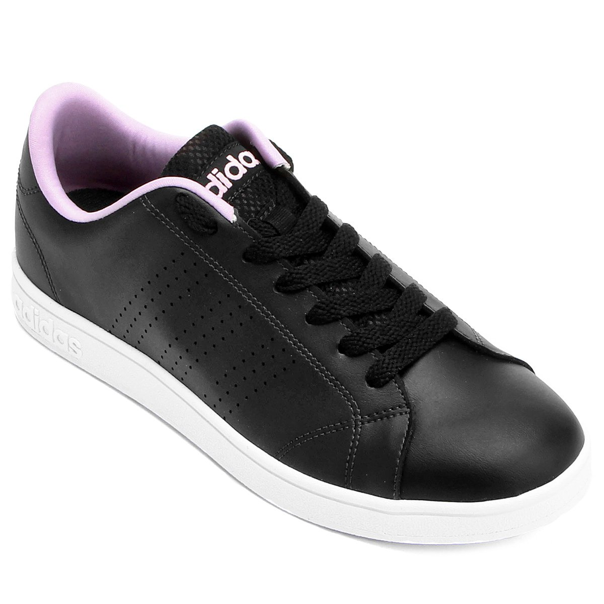5e79655ccc Tênis Adidas Vs Advantage Clean Feminino - Preto e Rosa - Compre ...