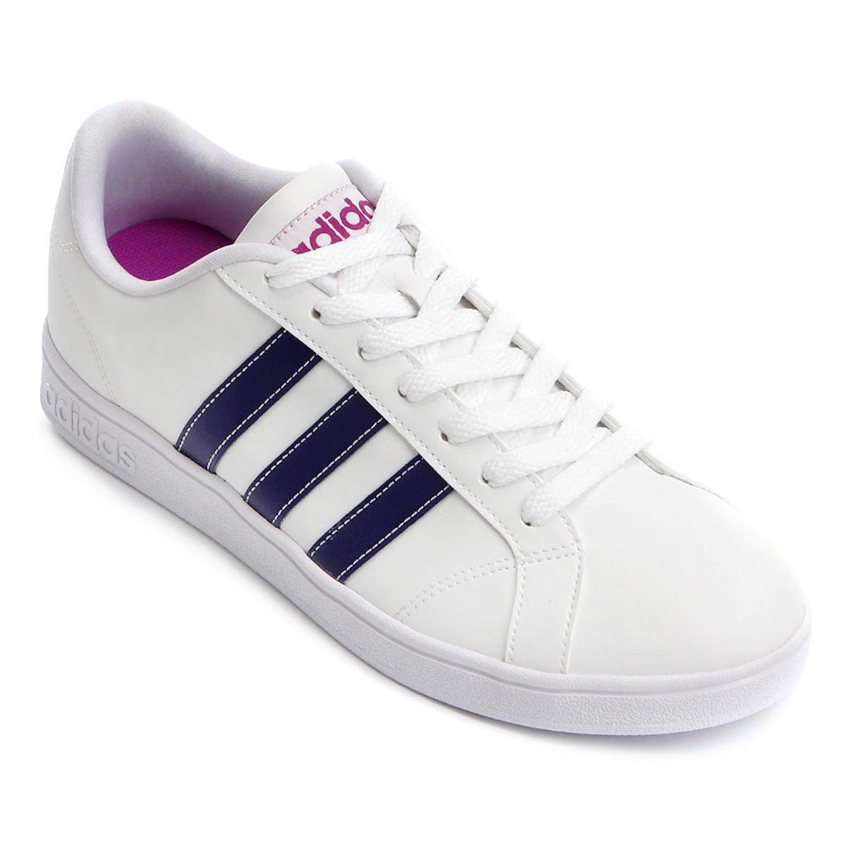 a560544e5fb Tênis Adidas Vs Advantage Feminino - Branco e Rosa - Compre Agora ...