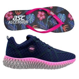 Tenis Ascension Ghost 2 Feminino - Preto E Rose + Chinelo Ascension - Azul E Pink