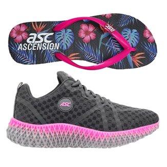 Tenis Ascension Ghost 3 Feminino - Grafite E Pink + Chinelo Ascension - Azul E Pink