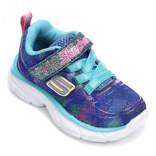 Tênis Bebê Skechers Sprintz Rainbow Raz Feminino - Azul