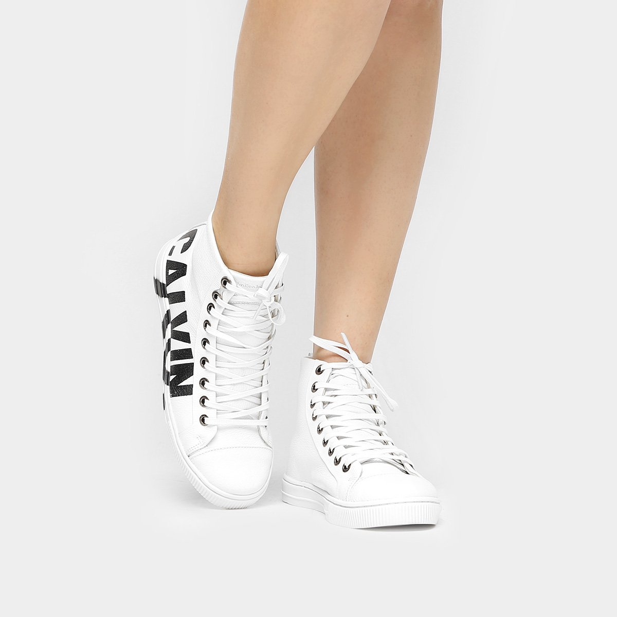 Tênis Calvin Klein Cano Alto Logo - Compre Agora   Netshoes 9749d07ed9