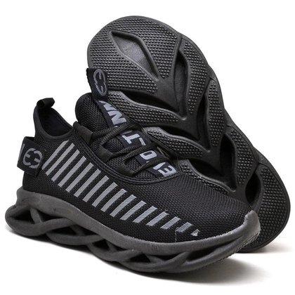 Tenis Caminhada Conforto Feminino Leve Sola Trançada Black