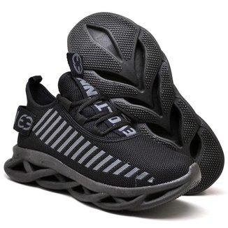Tênis Caminhada Conforto Masculino Leve Sola Trançada Black