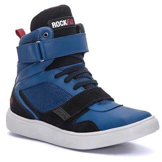 Tênis Cano Alto Masculino Rock Fit Strokes Azul e Preto Cor:Azul/Preto;Tamanho:43