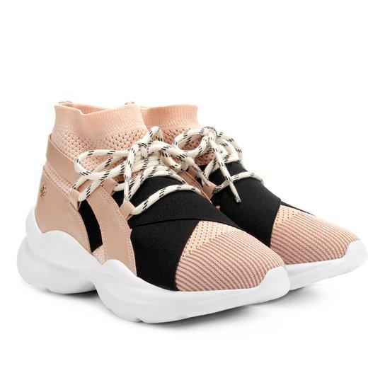 Tênis Capodarte Meia Chunky Sneaker Feminino - Nude+Preto
