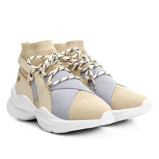 Tênis Capodarte Meia Chunky Sneaker Feminino - Bege+Azul