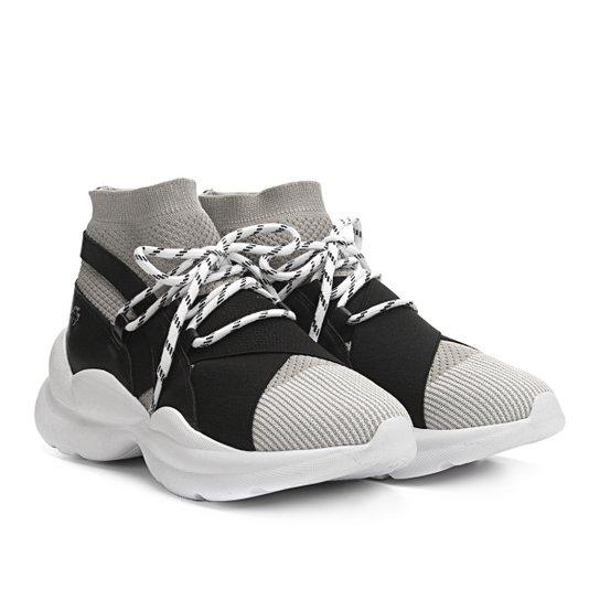 Tênis Capodarte Meia Chunky Sneaker Feminino - Cinza+Preto