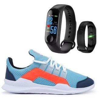 Tênis Casual Fitness Academia Caminhada Corrida Confortável + Pulseira Inteligente M3