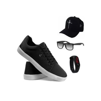 Tenis Casual + Relógio + Boné Fé + Óculos