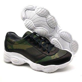 Tenis Chunky Dad Sneaker Feminino Couro Fashion BM Brasil