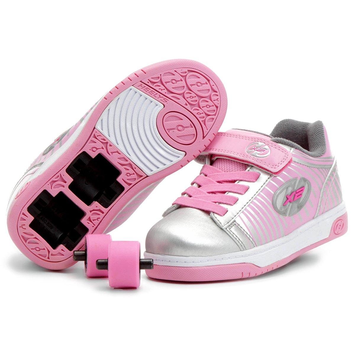 50315a78864 Tênis com Rodinha Heelys Dual Up X2 Infantil - Prata e Rosa - Compre Agora