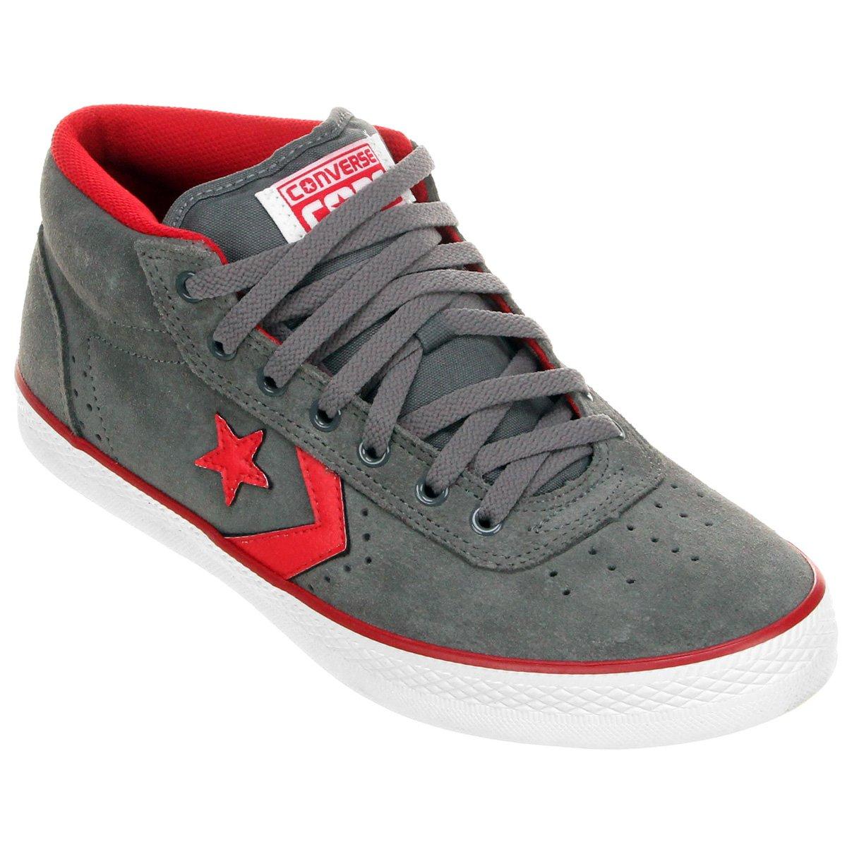 7c7aa92c4e7 ... Tênis Converse Skateboard Wells Mid - Cinza+Vermelho. FEMININO