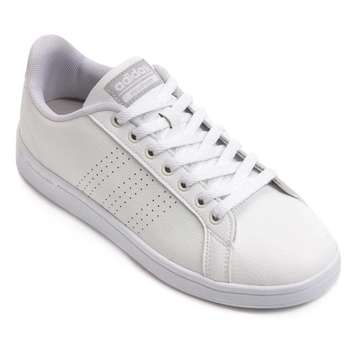 Feminino Branco Couro Adidas Tênis Couro Advantage Advantage Clean Cf Cf Clean Adidas Branco Feminino Tênis O68Spnwq