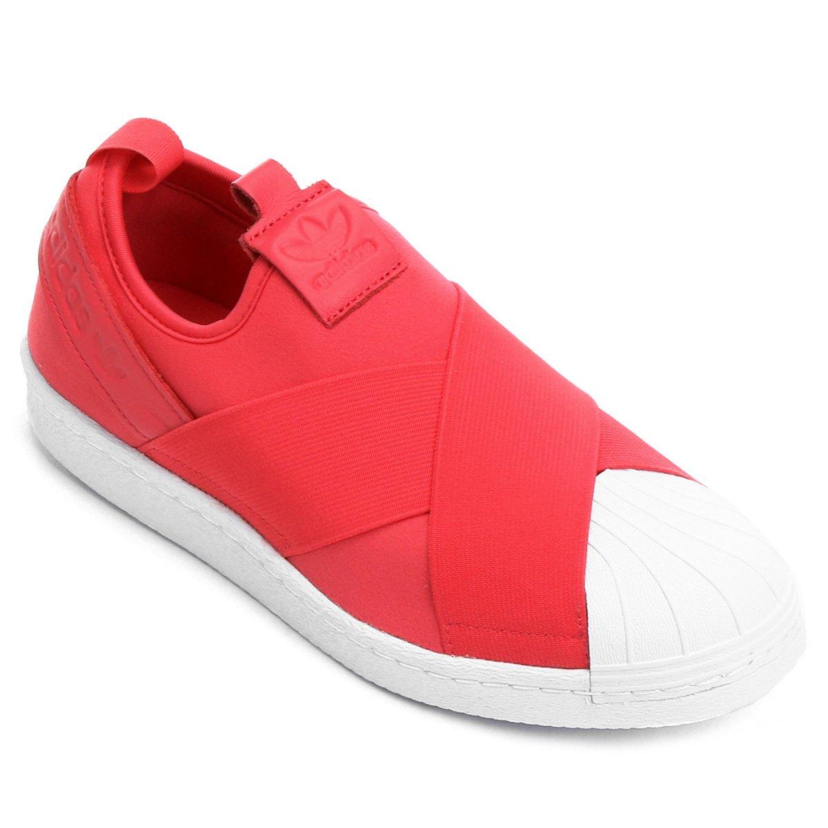 21f981a1c8 tênis adidas superstar slip on feminino  tênis couro adidas superstar  feminino pink+branco