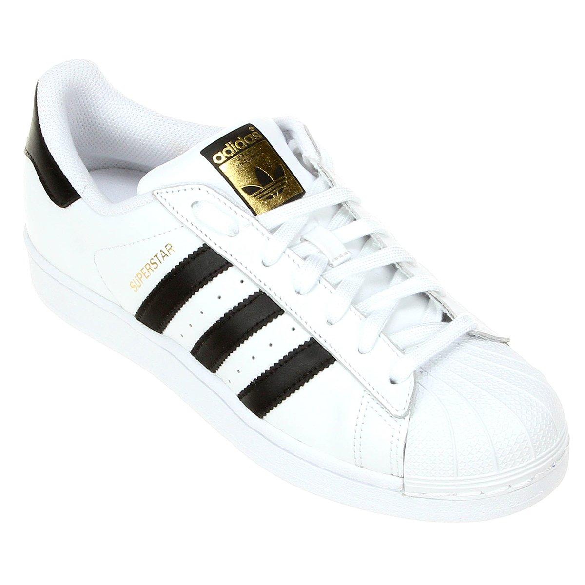 Tênis Couro Adidas Superstar Foundation Masculino Branco e Preto