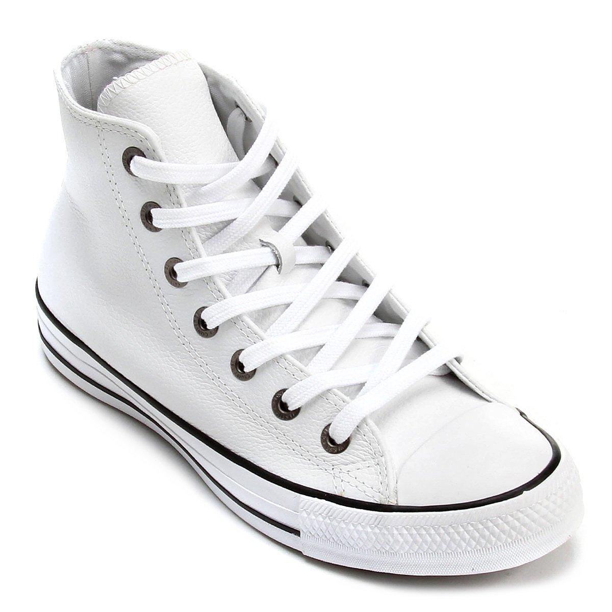 5834b319fb5 Tênis Couro Converse Chuck Taylor All Star HI - Branco e Preto - Compre  Agora