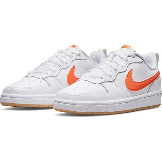 Tênis Couro Infantil Nike Court Borough Low 2 - Branco+Laranja