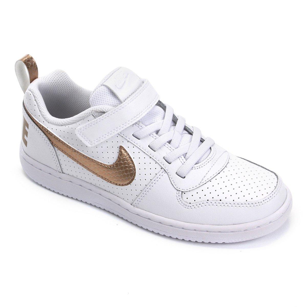 Tênis Couro Infantil Nike Court Borough Low Ep Psv Feminino Branco E Dourado