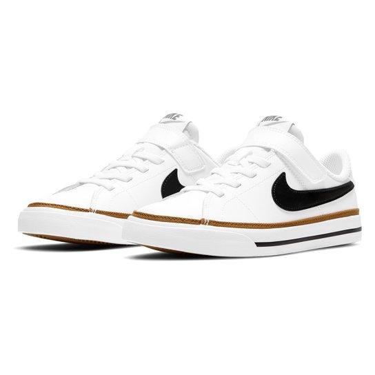 Tênis Couro Juvenil Nike Court Legacy Bpv Masculino - Branco