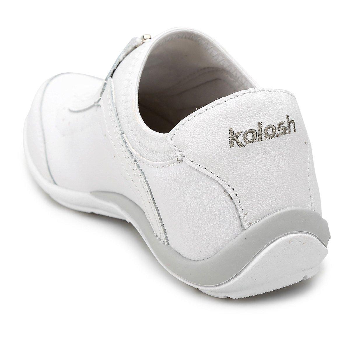 Kolosh Couro Zíper Branco Couro Frontal Zíper Tênis Tênis Feminina Kolosh rrEwxa