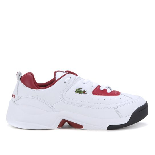 Tênis Couro Lacoste V-Ultra OG Masculino - Branco+Vermelho