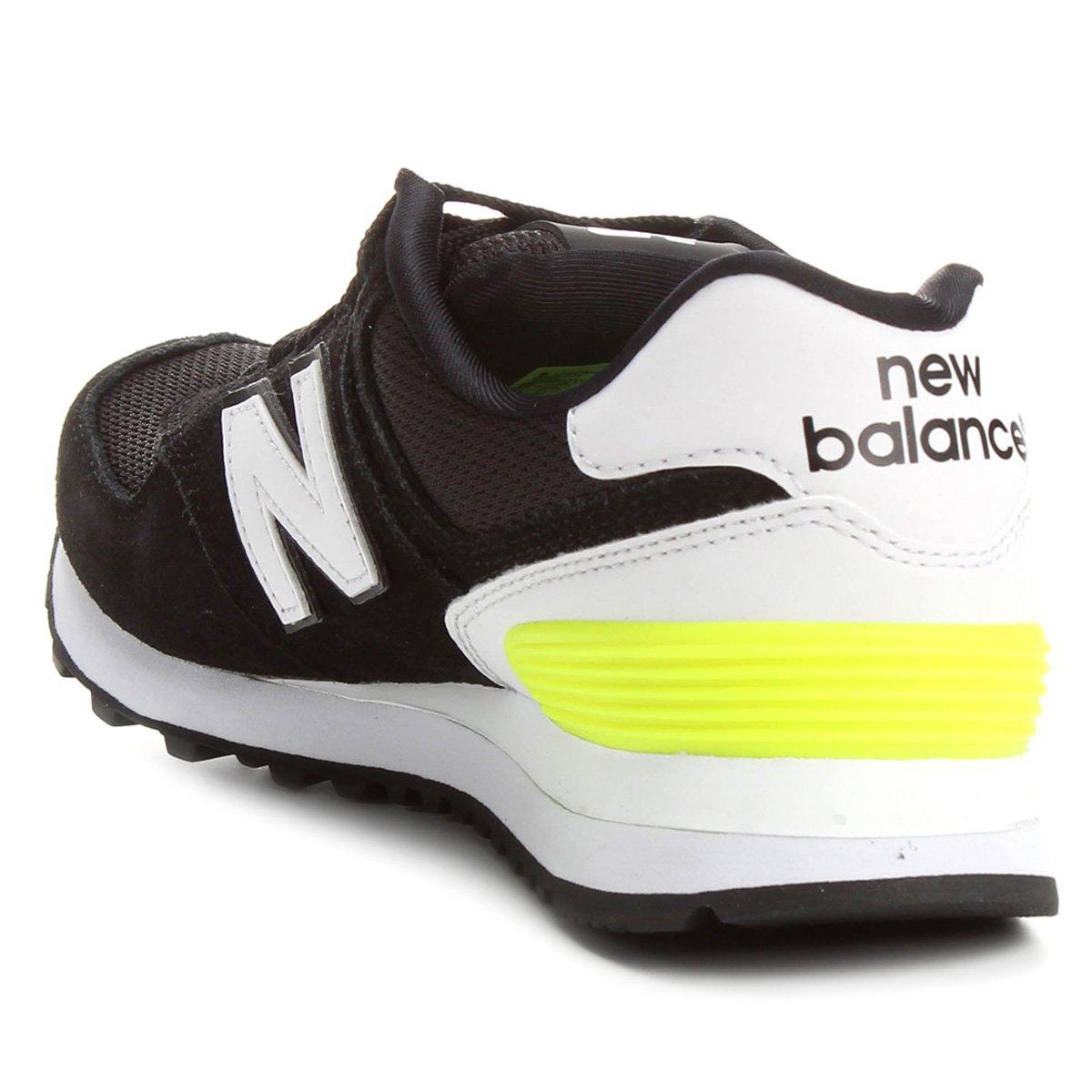 Tênis Couro New Balance 574 Feminino - Preto verde | Netshoes