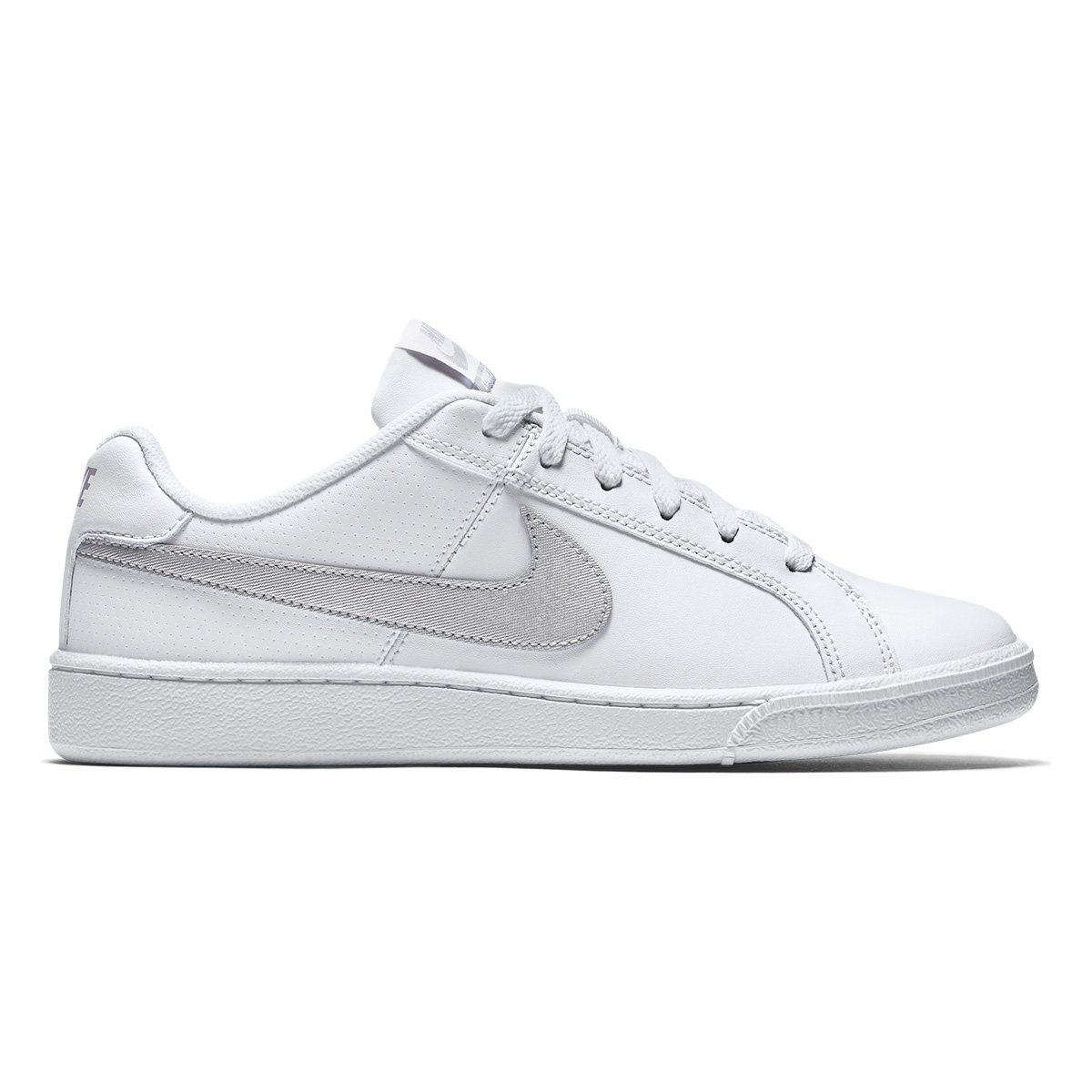 Tênis Couro Nike Court Royale Feminino Branco E Prata