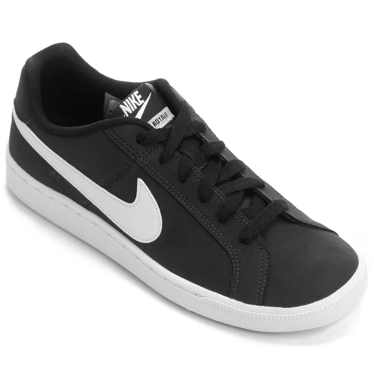 Tênis Couro Nike Court Royale Feminino Branco E Preto