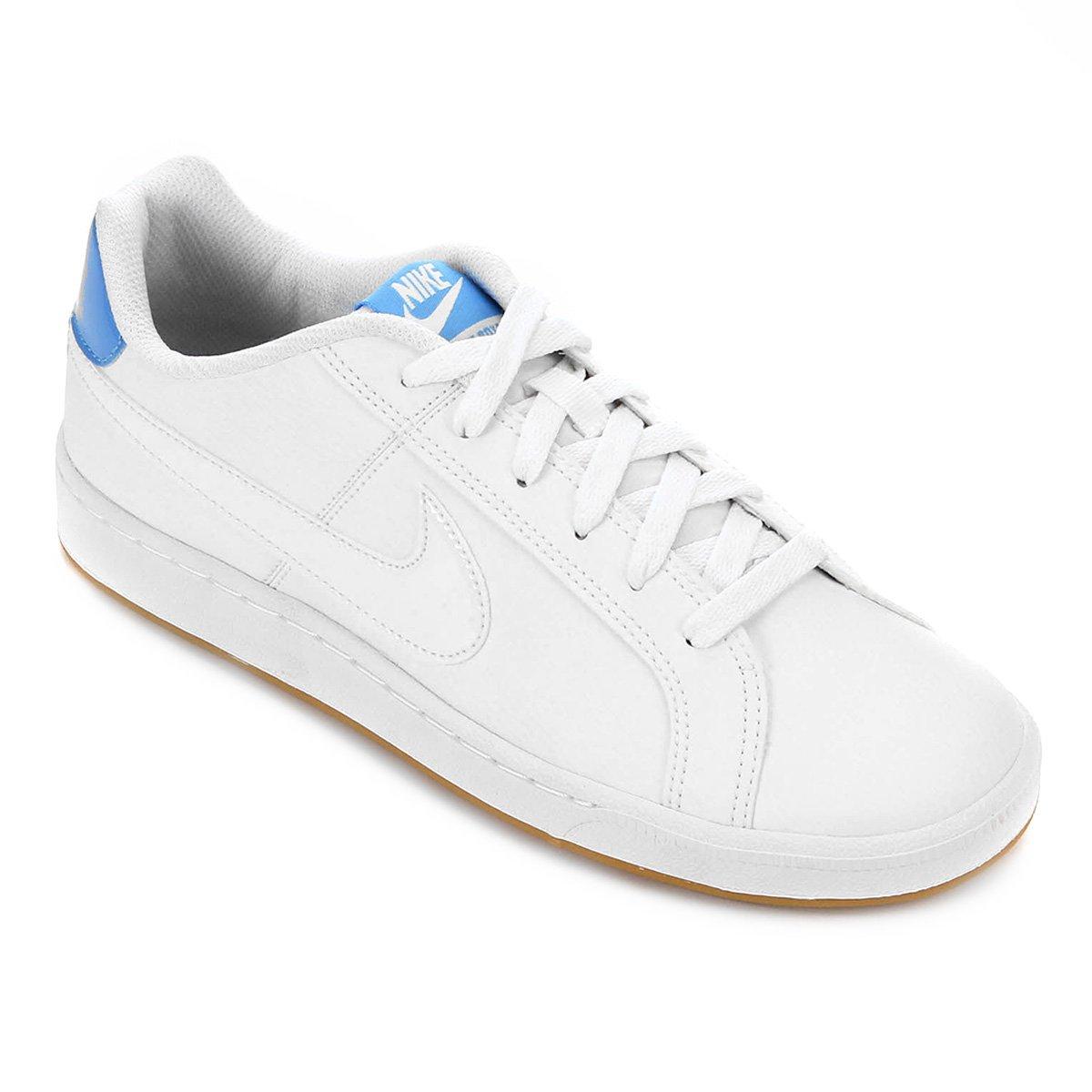 Tênis Couro Nike Court Royale Feminino Branco E Azul