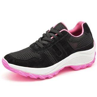 Tenis Feminino Esportivo Para Caminhada E Corrida Confortavel - Preto E Rosa